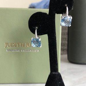 Judith Ripka blue topaz and 925 hinge earrings